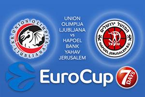 Union Olimpija Ljubljana v Hapoel Bank Yahav Jerusalem - Eurocup Tips