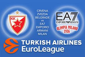 Crvena Zvezda mts Belgrade v EA7 Emporio Armani Milan - Euroleague Betting Tips