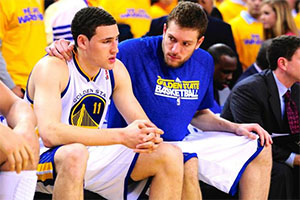 Klay Thompson and David Lee