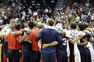 Team USA Hugging After Paul George's Injury